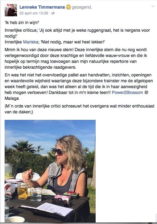 Blossom in Spain testimonial Lenneke Timmermans fb
