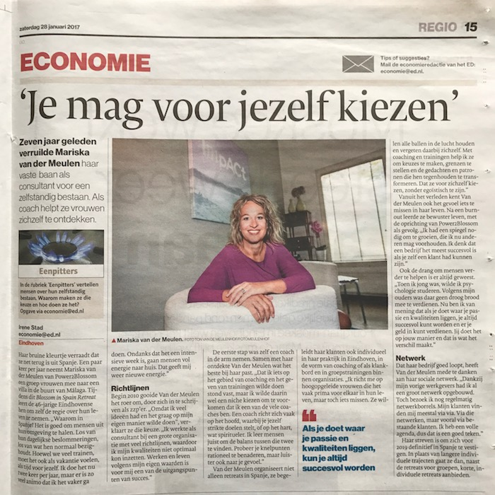 Eenpitter ED Eindhovens Dagblad - interview Power to Blossom Mariska van der Meulen